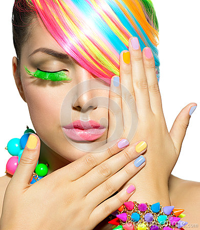 Beauty Girl with Colorful Makeup