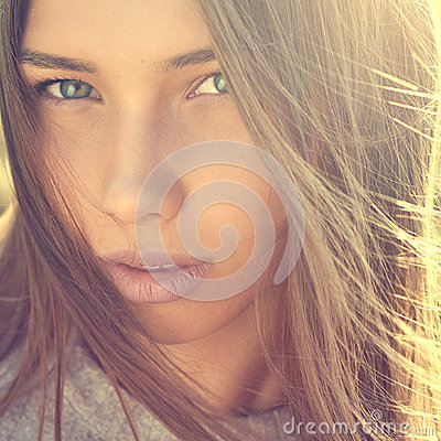 Free Beauty Girl Face Close Up Stock Image - 98156251