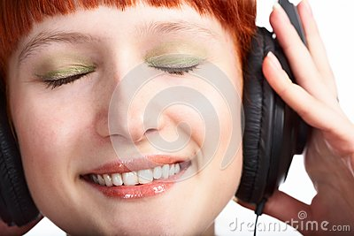 Beauty girl in head phones