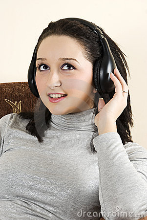 Beauty girl listening music