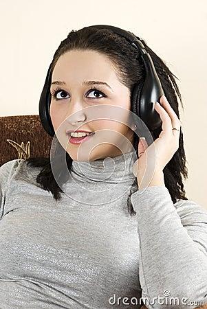 Beauty girl listening music