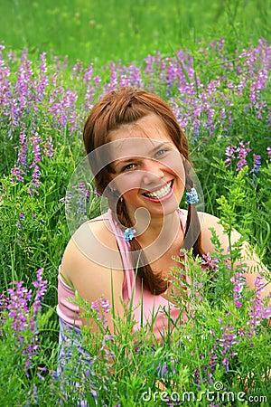 Beauty Girl in Meadow