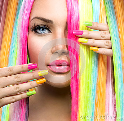 Free Beauty Girl Portrait With Colorful Makeup Royalty Free Stock Photography - 41594887