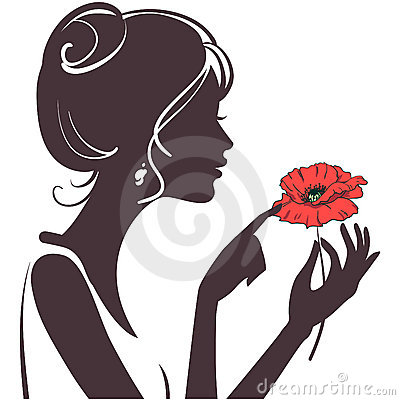Beauty girl with red poppy