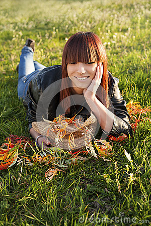 beauty girl relaxing in nature