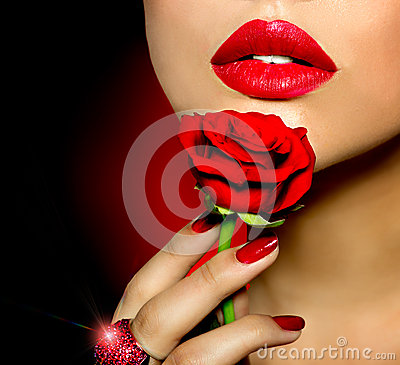 Beauty Girl with Rose
