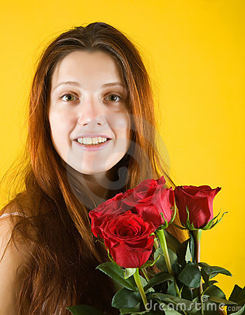Beauty  girl with roses