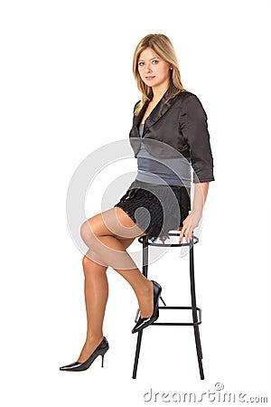 Free Beauty Girl Sits On Bar Stool Royalty Free Stock Photo - 9492965