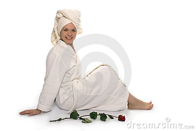 Beauty girl in towel after shower