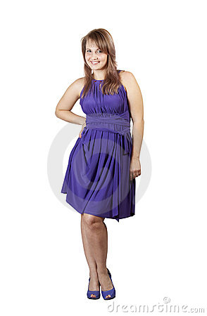 Beauty girl in violet dress