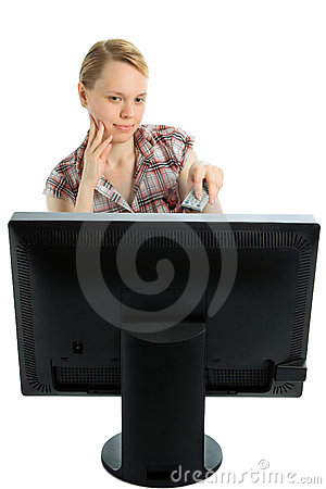 Free Beauty Girl Watching TV Royalty Free Stock Images - 2611779