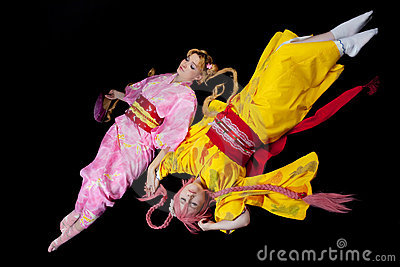 Beauty girls lay in kimono cosplay costume