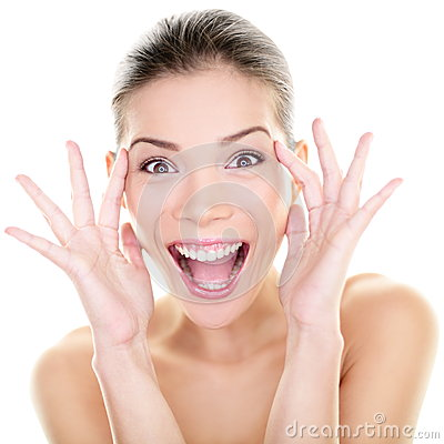 Free Beauty - Happy Funny Asian Woman Face Expression Royalty Free Stock Photo - 33992605