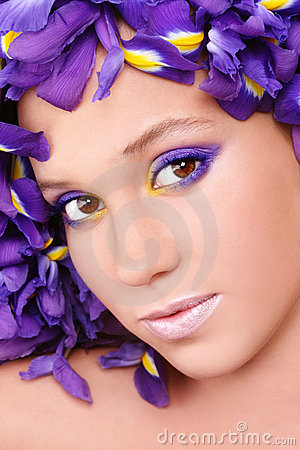 Beauty with irises