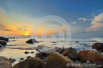 Beauty landscape with sunrise over sea