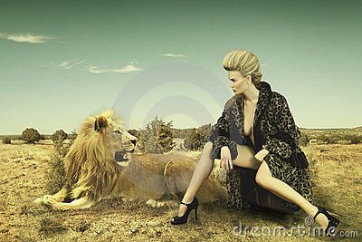 Beauty and lion Stock Photo