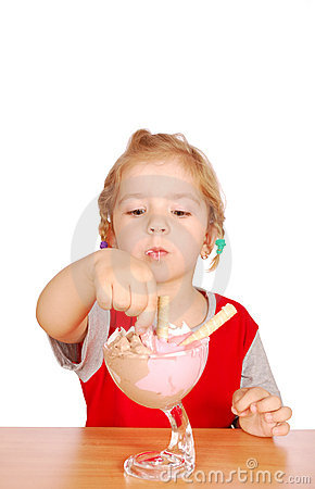 Beauty little girl enjoy in ice cream