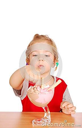 Beauty little girl enjoy in ice cream