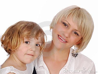 Beauty little girl with mother