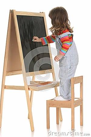 Beauty a little girl writing