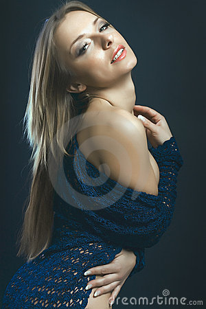 Beauty long hair blonde girl fashion portrait