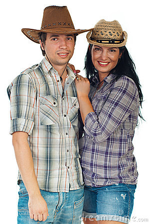Beauty loving couple in cowboy s hat