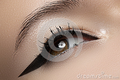 Beauty macro of eye with fashion liner make-up