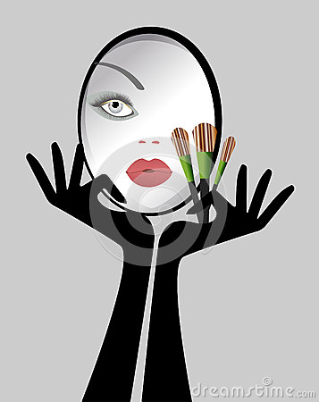 Free Beauty - Make-up Mirror Womens Face Brushes Royalty Free Stock Photo - 37647225