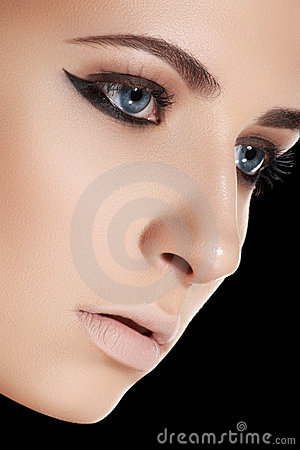 Beauty and makeup. Beautiful woman with clean skin