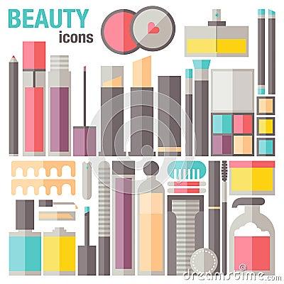 Free Beauty Makeup Flat Icons Stock Image - 41828261