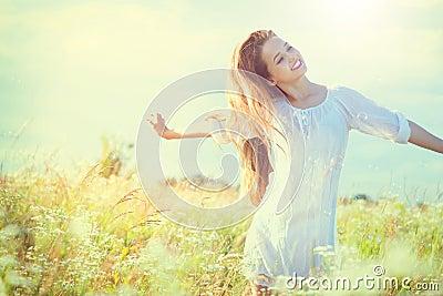 Beauty model girl in white dress