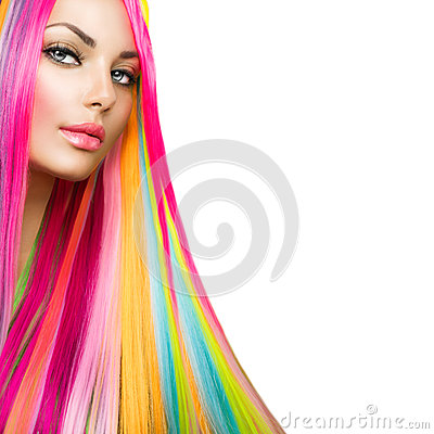 Free Beauty Model Girl With Colorful Hair And Makeup Royalty Free Stock Photography - 42725227