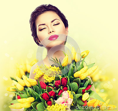 Free Beauty Model Woman With Spring Flowers Stock Photography - 50821522
