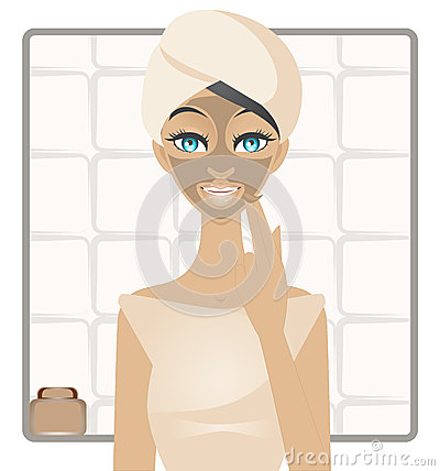 Beauty with mud facemask