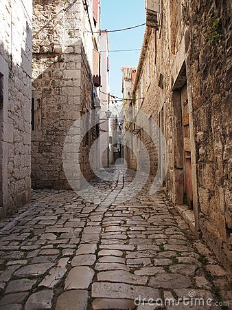 Beauty old narrow alley in UNESCO town, Trogir