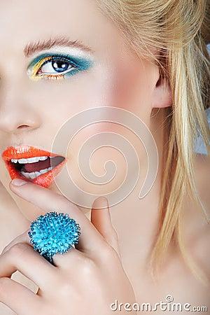 Beauty with orange lips