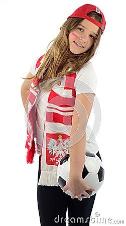 Beauty Polish teenager cheers football team