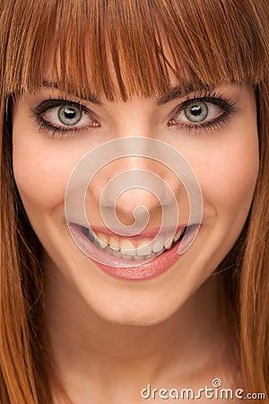 Beauty portrait of cute happy brunette