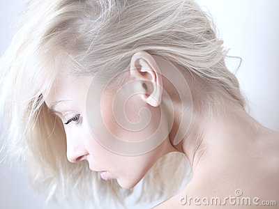 Beauty portrait of delicate blonde woman.