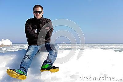 Beauty portrait of handsome man outdoor