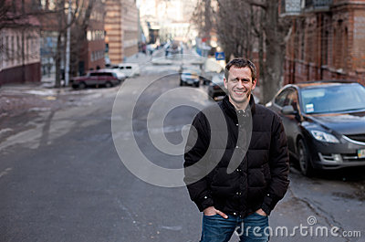 Beauty portrait of handsome man urban outdoor