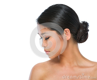 Beauty portrait of healthy asian brunette woman