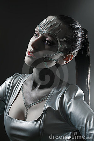 Beauty portrait with mirror shatters
