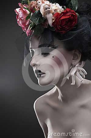 Beauty portrait of pale woman