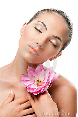 Free Beauty Portrait With Flower Stock Image - 18267711