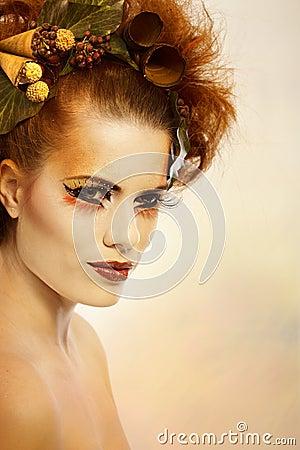 Beauty portrait woman in autumn makeup