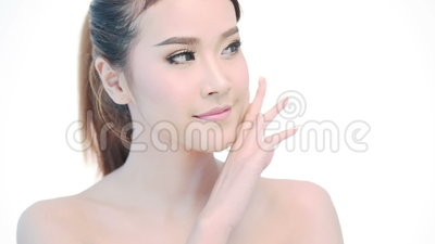 Beauty Portrait Of Woman Beautiful Face In Skincare Concept Stock Video Video Of Happiness Fresh 59198153