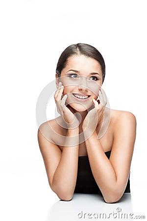 Beauty portrait of young caucasian brunette female