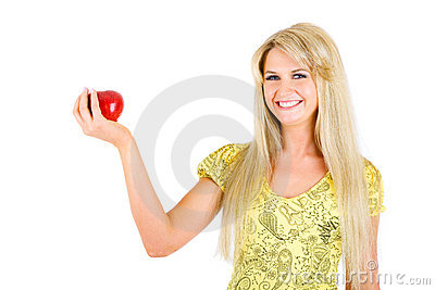 Beauty with red apple