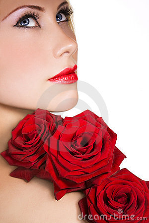 Beauty with red roses
